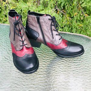 REMONTE LEATHER OXFORD STYLE ANKLE BOOTS SZ 7